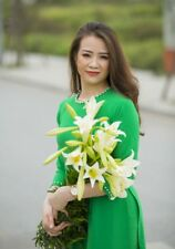 Dark Green Ao Dai Viet Nam Pearl Neck Decoration chiffon