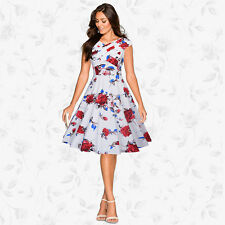 UK Womens Vintage Tea Dress 50s Floral Rockabilly Swing Pin Up Prom Party Dress