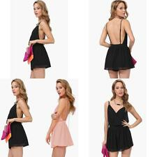 Summer Fashion Sexy V Collar Dress Halter Chiffon Sling Back Piece Pants AU