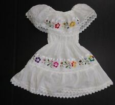 Gypsy Mexican Girls kids Dress Peasant WHITE Lace /w Embroidered Flowers sz 1-4T