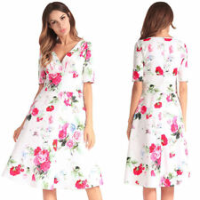 Vintage Womens V Neck Prom Dress Ladies Floral Flared Swing Skater Dress Plus