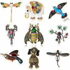 Vintage Dog Bee Owl Dragonfly Flower Brooches Women Animal Brooch Pin Jewelry