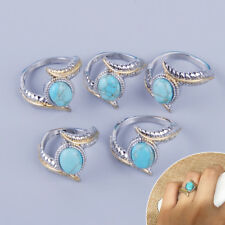 Size 6-10 Women Oval Turquoise Gold Silver Plated Feather Ring Wedding Band Gift