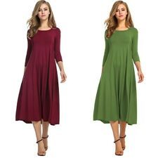 Women 3/4sleeve 50s Party A-line Dress Vintage Stretchy Solid Casual Swing Dress