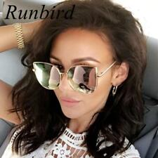 Oversized Sunglasses Mirror Glasses Metal Cat Eye Brand Designer Square Women