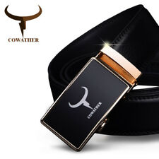 MENS BELT COW GENUINE LEATHER BELTS FOR MEN FASHION AUTOMATIC GOLD BUCKLE CZ001