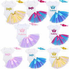 Baby Girls 1st Birthday Tutu Skirt Dress Outfits Romper Princess Party Clothes