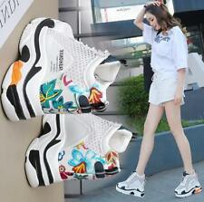 Womens High Top Conceal Heels Floral Mesh Sport Athletic Sneakers Lace Up Shoes