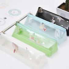 Transparent Pencil Bag Stationery Zipper Case Simple Clear School Makeup Pouch