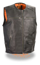 Milwaukee Leather Mens Black Leather Vest Zipper Front w/ Side Stretch   MLM3570