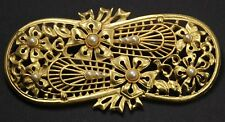 Vintage Large Gold Tone Art Nouveau Style Floral Pearl Flower Bow Brooch Pin