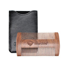 Sandalwood Wooden Beard Mustache Comb Double Sided With PU Leather Case