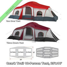 Ozark Trail 10 Person Family Tent 3Room 20x10' Large Outdoor Camping Cabin Tents
