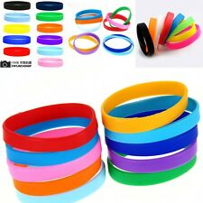 2Pcs Silicone Rubber Stretchy Sports Cuff Bracelet Bangle Wristband Band New