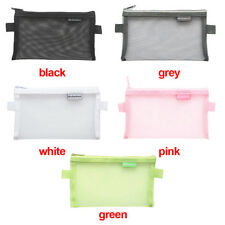 Clear Exam Pencil Case Simple Mesh Zipper Stationery Bag School Bag Pouch Gift