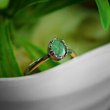 Natural Green Aventurine Statement Gemstone Stackable Fashion Style Ring Jewelry