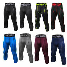 Mens Compression Tights Cropped Athletic Workout Running 3/4 Pants Tight Fitness