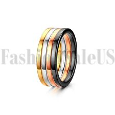 4pcs 2mm Women's Stainless Steel Stacking Wedding Engagement Ring Band Size 4-9