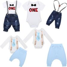 Newborn Infant Baby Girl Boy Clothes My 1st Birthday Romper+Pants Outfits Sets