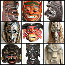 Wooden Mask Hand Carved Vintage Collectible Home Decoration Wood Made Rare Super