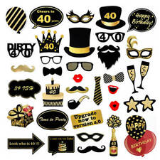 35Pcs Happy Birthday Props Party Decor Photo Booth Glitter Selfie Supplies