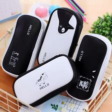 White and Black Two Zipper Case Cosmetic Makeup Bag Pencil Pouch Pen Organizer