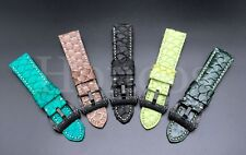 24MM Cobra Blue Snake Python Skin Leather Clasp Strap Buckle Fits For Panerai