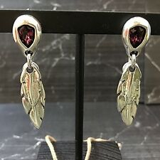 UNO de 50 LOOK AT ME Silver Feather Dangle Earrings w/ Crystal & Pkging PEN0597