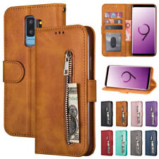 For Samsung Galaxy S10 S9 S8+ S7 Note8/9 Wallet Case Zipper Leather Flip Cover
