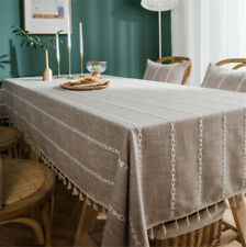 Tablecloth Heavy Weight Cotton Linen Fabric Dust-Proof Table Cover  Rectangle