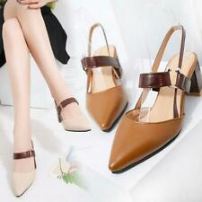 Women coarse sandals high heels shallow mouth pointed pumps shoes high heel U2D7