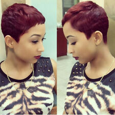 Short Red Wigs For Women Buzz Cut Hair Synthetic Pixie Cut Wigs Burgundy Hair