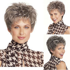 Ombre Grey Wigs with Bangs Short Wigs for Black Women Synthetic Pixie Cut Wig