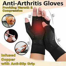 A Pair Copper Anti Arthritis Gloves Hand Support Pain Relief Finger Compression