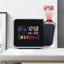LED Digital Projection Alarm Clock Snooze Weather Thermometer LCD Color Display