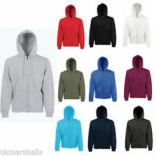 FRUIT OF THE LOOM HOODIE FULL ZIP HOOD TOP 9 COLS S-XXL