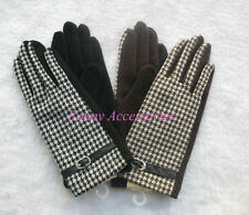 Ladies Girls Wool Acrylic Houndstooth Fashion Gloves