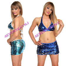 Sexy Sequin Halter Top and Matching Mini Skirt  O/S