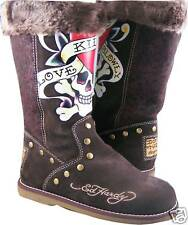 Womens Ed Hardy Brown Love Kills Bootstrap Boots Shoes
