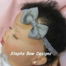 GREY GRAY DAINTY HAIR BOW HEADBAND INFANT TODDLER BABY