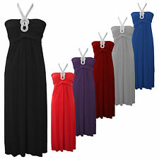PLUS SIZE GLAMOROUS NECKLACE EVENING MAXI DRESS 14 - 24