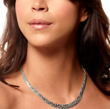 Bold Graduated Byzantine Chain Necklace Real Solid 14K White Gold
