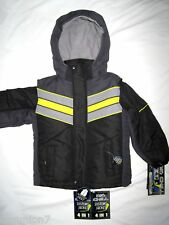 4 in 1 Big Chill Boys Weather Resistant Jacket Reversible Size 4 5 6 7 Black