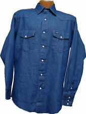 Wrangler Rinsed Blue Denim Western Workshirt   S to XXL