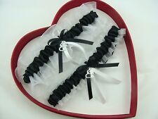 New Sexy Black White Wedding Garter 30 Charms to Select