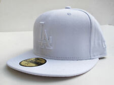 LA Dodgers Solid White All Sizes Fitted Cap Hat by New Era