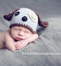 ILC CUSTOM Size Crochet SCRAPPY PUPPY BABY TODDLER HAT Photo Prop Shower Gift