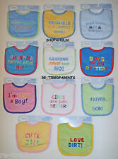 BABY BIB – TERRY CLOTH - EMBROIDERED FUNNY SAYINGS – BOY - GIRL - INFANT – NWT