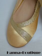 Gold Satin Ballet Wedding Pumps Flat UK 3 4 5 6 6.5 7