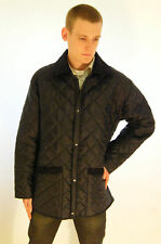 Mens Equestrian Quilted Padded Riding Jacket Coat Brand New Navy Blue